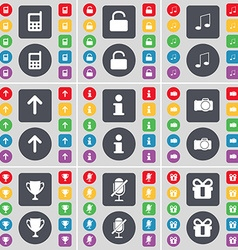 Mobile phone Lock Note Arrow up Information Camera vector