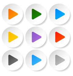 modern flat play buttons with smooth gradients vector image
