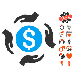 Money care hands icon with valentine bonus vector