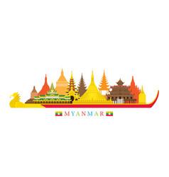 myanmar architecture landmarks skyline vector image