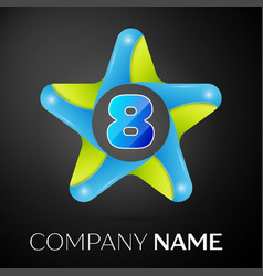 Number eight logo symbol in the colorful star on vector