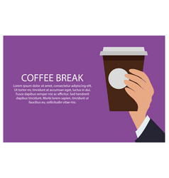 office break hand and cup vector image