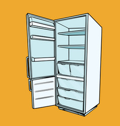 Open empty refrigerator vector