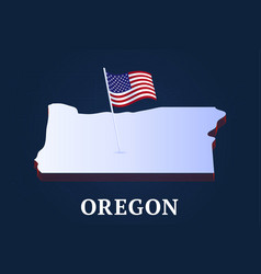 oregon state isometric map and usa national flag vector image