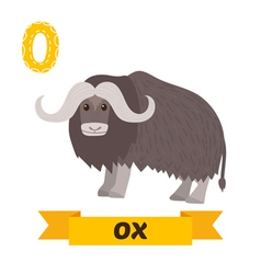 Ox O letter Cute children animal alphabet in vector image