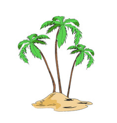 palm trees set on sandy island isolated on white vector image
