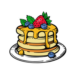 Pancakes with berries and honey in color vector