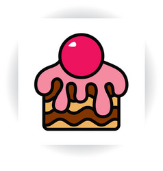 Piece of chocolate cake with cream and cherry vector