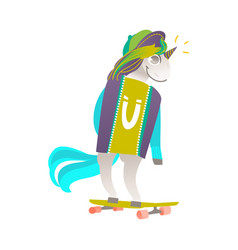 Portrait of unicorn character riding a skateboard vector