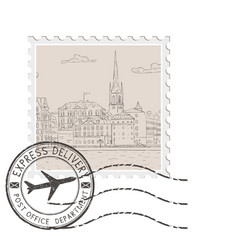 Postal stamp with old city panorama with black vector