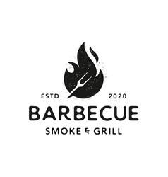 Prinvintage retro rustic hipster barbecue fork vector