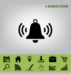 ringing bell icon black icon at gray vector image