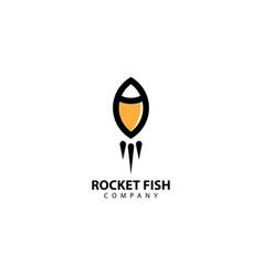 Rocket fish logo design icon vector