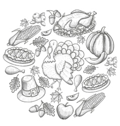 Round template with Thanksgiving icons vector