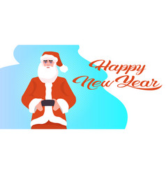 santa claus in red costume celebrating happy new vector image