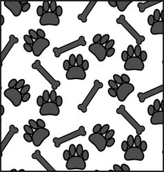 Seamless patter foot print dog and bone vector image