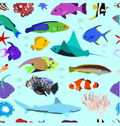 seamless pattern of colorful marine fishes vector image