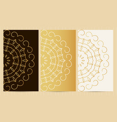 set of flyers in golden color collection of vector image