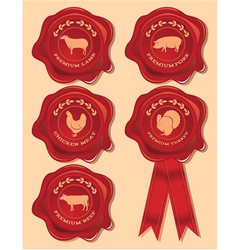 Set patterns red seal with farm animals and bir vector