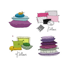 set with pillows bed linen vector image