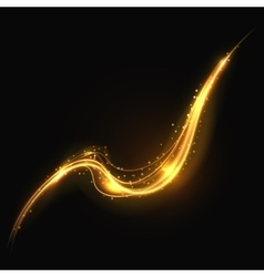 Shiny gold glowing lines swirl trail golden smoke vector image