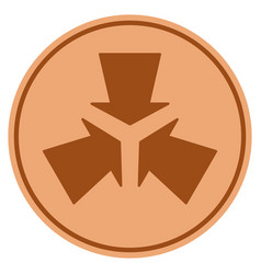 Shrink arrows bronze coin vector