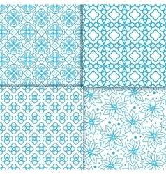 Simple floral blue color pattern set vector image