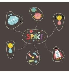 Space Cartoon Style Concept vector