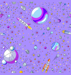 Space seamless background with rockets planets vector