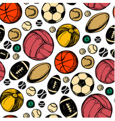 sport sketch balls pattern hand drawn vector image
