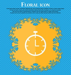 Stopwatch icon Floral flat design on a blue vector image