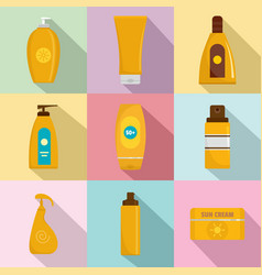 sunscreen protection bottle icons set flat style vector image