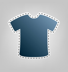 t-shirt sign blue icon with outline for vector image