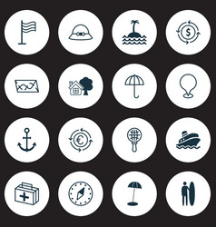 Tourism icons set with anchor roadmap island pin vector