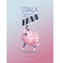 Train your brain poster with lettering dumbbells vector