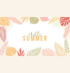 Trendy summer banner in simple flat style with vector