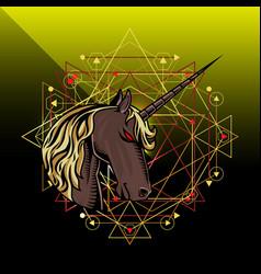 unicorn head mascot logo design vector image