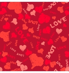 Valentine Background Painted Hearts and Words Love vector image