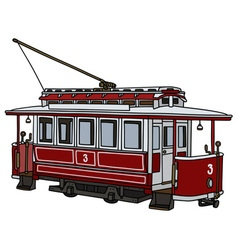 Vintage red tramway vector