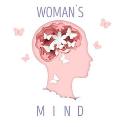 woman mind in paper art style vector image