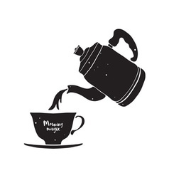 Cup and Teapot vector image