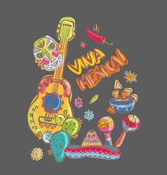 mexico guitar nachos and mask vector image