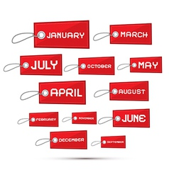 Months of the Year Red Sale Paper Labels Tags Set vector image