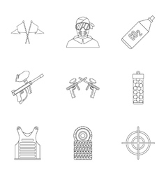 Paintball club icons set outline style vector image
