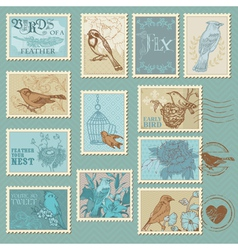 Retro Bird Postage Stamps vector image vector image