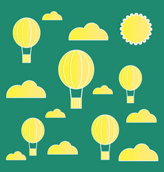 yellow paper balloons with clouds on green vector image vector image