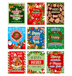 christmas or new year holiday greeting card design vector image