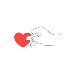 male hand with a red heart on a white background vector image vector image