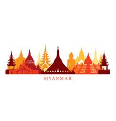 myanmar architecture landmarks skyline shape vector image vector image