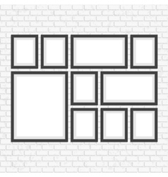 Picture frame set on brick wall vector image
